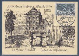 Journée Du Timbre 1964 Le Vieux Moulin Musée De L'Ardenne Charleville 14.3.64 Carte Postale N°1406 - Tag Der Briefmarke