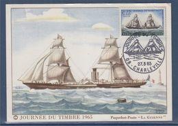 Journée Du Timbre 1965 Paquebot Poste La Guienne Charleville 27.3.65 N°1446 - Tag Der Briefmarke