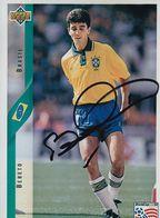 AUTOGRAPHE ORIGINAL FOOTBALLEUR INTERNATIONAL BRESIL DE 1985 A 1998 / BEBETO / 75 SELECTIONS 35 BUTS - Autografi