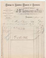 Nord - Tourcoing - J.B Lemaire Et Fils - Fabrique De Cylindres Tannerie Et Corroierie 1887 - France
