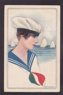 CPA Nanni Femme Girl Women Illustrateur Italie Circulé Mode Chapeau Cachet De Censure - Nanni