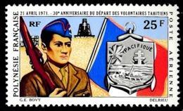 POLYNESIE 1971 - Yv. PA 47 ** TB  Cote= 13,00 EUR - Départ Des Volontaires Polynésiens  ..Réf.POL25146 - Oblitérés