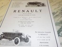 ANCIENNE PUBLICITE LA VOITURE  RENAULT 1925 - Cars