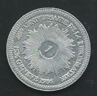 """Monnaie 1 (Franc Batz ?) """" 450e Anniversaire De La Réformation """" 1536-1986 République De Genève  PIA  23607 - Suisse"""