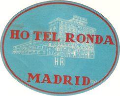 ETIQUETTE VALISE HOTEL HOTEL RONDA MADRID ESPAGNE - Hotel Labels