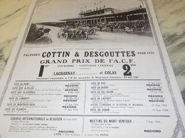 ANCIENNE PUBLICITE GRAND PRIX DE ACF COTTIN DESGOUTTES 1925 - Cars