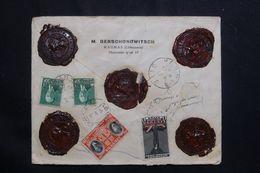 LITUANIE - Enveloppe Commerciale En Recommandé VD De Kaunas Pour La France En 1936 , Affranchissement Au Dos -  L 64535 - Lituania