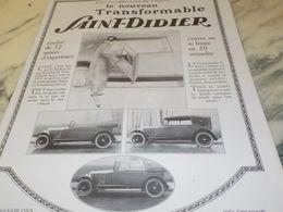 ANCIENNE PUBLICITE LE NOUVEAU TRANSFORMABLE MAGASIN  SAINT DIDIER 1925 - Cars