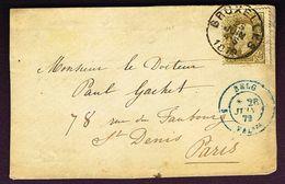 COB 32 (25c) Oblit BRUXELLES 25 JUIN 79 Vers Paris Sur Devant De Lettre - 1869-1883 Leopold II