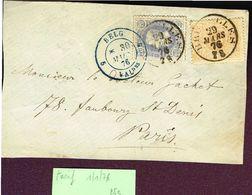 COB 27a Et 31 Oblit BRUXELLES 29 MARS 76 Vers Paris Sur Devant De Lettre - 1869-1883 Leopold II