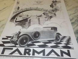 ANCIENNE PUBLICITE VOITURE FARMAN GLISSE 1925 - Cars