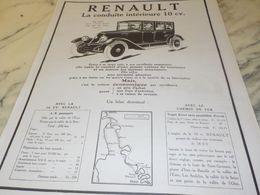 ANCIENNE PUBLICITE CONDUITE INTERIEURE VOITURE RENAULT (40 Cv) 1925 - Cars