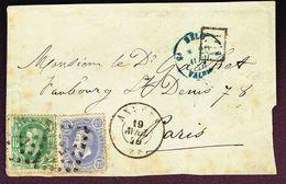 COB 30 Et 31 Oblit LP 12 ANVERS 19 AVRIL 70  Vers PARIS Sur Devant De Lettre - 1869-1883 Leopold II