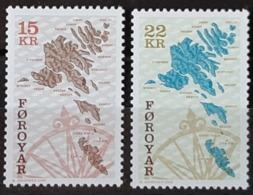 ILES FEROE / YT 369 - 370 / CARTE - ILE - ROSE DES VENTS / NEUFS ** / MNH / COTE : 13.00 € - Faroe Islands