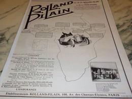 ANCIENNE PUBLICITE MISSION TRANIN DUVERNE VOITURE ROLLAND PILAIN  1925 - Cars