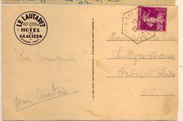 """Cachet Hexagonal """"col Du Lautaret 1933"""" Semeuse Frappe Superbe Cp Du Col Du Lautaret - Postmark Collection (Covers)"""