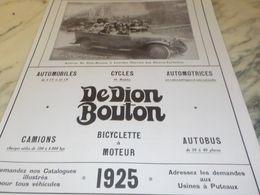 ANCIENNE PUBLICITE  AUTOCAR A LOURDES  DEDION BOUTON  1925 - Transportation