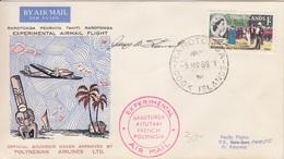 1° Vol Expérimental Rarotonga-Polynésie, Obl. Rarotonga Le 5 MR 66 Pour Vaitape Bora-Bora + Cachet Et Signature - Cook Islands