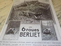ANCIENNE PUBLICITE 6 ROUES MILITAIRE VOITURE BERLIET  1925 - Cars