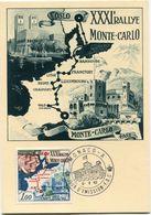 MONACO CARTE MAXIMUM DU N°575 XXXIe RALLYE AUTOMOBILE DE MONTE-CARLO AVEC OBLITERATION 1er JOUR MONACO 6-6-62 - Automobile