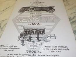 ANCIENNE PUBLICITE LE 500 CV LA VOITURE  RENAULT 1925 - Cars