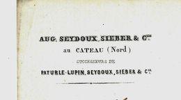 1862 NORD LE CATEAU Grandes Familles INDUSTRIE TISSAGE  SUISSE & PROTESTANTS SEYDOUX SIEBER => Harding Cocker Lille - France