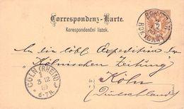 ÖSTERREICH - POSTKARTE 2 Kr 1889 ROKITZAN - CÖLN /ak728 - Enteros Postales