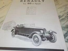 ANCIENNE PUBLICITE VOITURE 40 CV SPORT RENAULT 1925 - Cars
