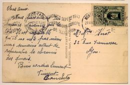 Rare Flamme Championnat Europe De Natation 1947 Monte-Carlo Frappe Superbe Cp Casino - Postmarks