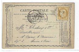 """FRANCE 1874:  CP De Paris Pour St Ouen-l'Aumône (S&O) Avec Le Y&T 59 Obl. étoile De Paris ''22"""", 2 Belles Variétés - 1871-1875 Cérès"""