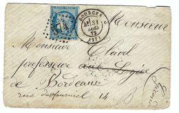 FRANCE 1872:  LSC De Bourges Pour Bordeaux Avec Le Y&T 60A Obl. GC 574 - 1871-1875 Cérès