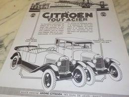 ANCIENNE PUBLICITE TOUT ACIER  AUTO   CITROEN  1925 - Cars