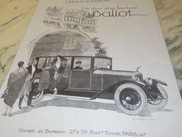 ANCIENNE PUBLICITE VOITURES BALLOT 2 LITRES TOURISME  1925 - Cars