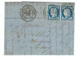 FRANCE 1876:  LAC De Clermont-de-l'Oise Pour Mouy (Oise) Avec Paire Du Y&T 60C Obl. CAD - 1871-1875 Cérès