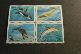 K18475 -set In Bloc  MNH Russia 1990 - MI. 6130-613 - Dolphin - Sea Otter -sea Lions And Killer Whales SC. 5933-5936 - Marine Mammals