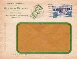 V7SD Enveloppe Timbrée Timbre Exposition Paris 1925 Entête Paris Rue De La Bienfaisance Sté Des Huiles De Pétrole - 1921-1960: Modern Period
