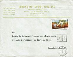 Portugal , 1972 ,  Protecção Da Natureza  1$00 Stamp , Fábrica Tecidos Mira Ave Bairro V.N. Famalicão Cover - Protection De L'environnement & Climat