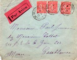 V7SD Enveloppe Courrier De Béziers à Casablanca Par Avion - 1921-1960: Periodo Moderno
