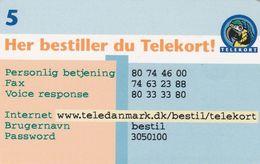 Denmark, P 307, Her Bestiller Du Telekort, Parrot, Mint Only 5.100 Issued, 2 Scans. - Danemark