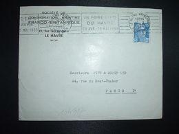 LETTRE TP M. DE GANDON 15F OBL.MEC.10-3 1955 LE HAVRE PRINCIPAL (76) VIE FOIRE EXPON DU HAVRE 29 AVR. 15 MAI 1955 - Marcophilie (Lettres)