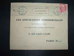 DEVANT TP M. DE GANDON 15F OBL.MEC.8 AVRIL 50 LE HAVRE PPAL (76) FOIRE EXPOSITION DU HAVRE 8-24 AVRIL 1950 - Marcophilie (Lettres)
