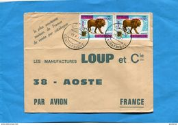 Marcophilie*lettre  EMPIRE CENTRAFRICAIN-cad BOUAR 1977-2- Stamps N° 279 Lion - Central African Republic