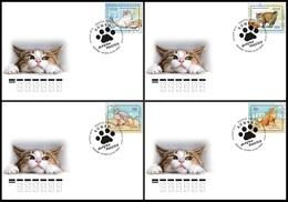 RUSSIA 2020 COVER Used FDC Mi 2834-37 CAT CATS CHAT KATZE KATZEN ANIMALS ANIMAUX ANIMAL FAUNA 2611-14 - Hauskatzen