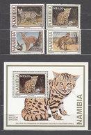 Namibia - Correo Yvert 794/7+Hb 29 ** Mnh  Fauna  Felinos - Namibia (1990- ...)