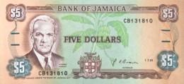 Jamaica 5 Dollars, P-70d (1.7.1991) - UNC - Jamaique