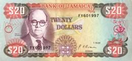 Jamaica 20 Dollars, P-72d (1.10.1991) - Extemely Fine - Jamaique