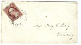 ETATS-UNIS Ca. 1863: LSC De Southbridge (Mass.) Pour Worcester (Mass.) Avec Superbe TP De 3c ND G. Washington, Obl. CAD - 1847-99 General Issues