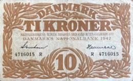 Denmark 10 Kroner, P-31k (1942) - Fine - Signatury Varity 1 - Denmark