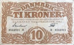 Denmark 10 Kroner, P-31k (1942) - Fine - Signatury Varity 3 - Denmark