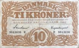 Denmark 10 Kroner, P-31k (1942) - Fine - Signatury Varity 4 - Denmark
